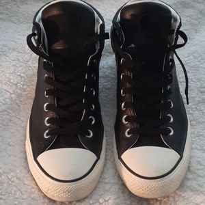 Black leather mens All Star Converse